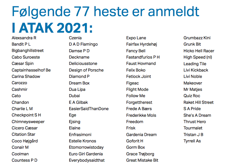 Read more about the article 77 heste anmeldt i ATAKs Fødselsdagsløb 2021